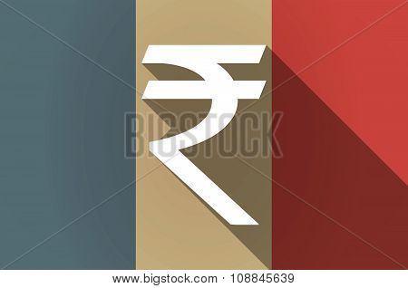 Long Shadow Flag Of France Vector Icon With A Rupee Sign