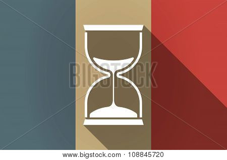Long Shadow Flag Of France Vector Icon With A Sand Clock