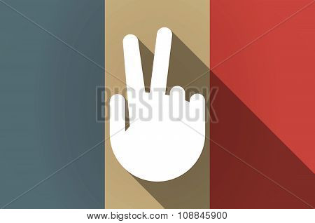 Long Shadow Flag Of France Vector Icon With A Victory Hand