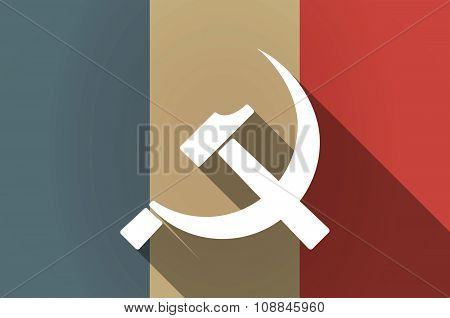Long Shadow Flag Of France Vector Icon With  The Communist Symbol