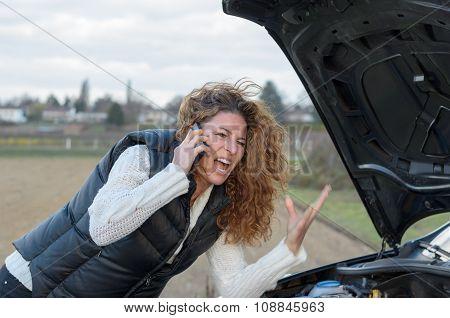 Woman 's Car Breaks Down
