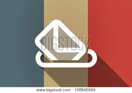 Long Shadow Flag Of France Vector Icon With  A Ballot Box