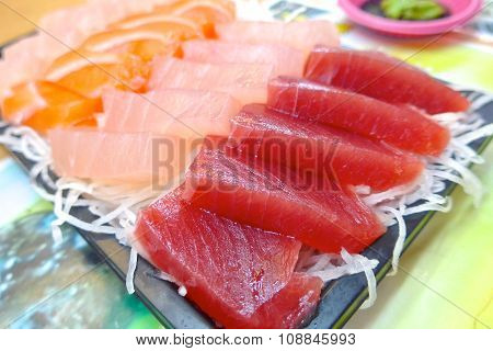 Japanese food , sashimi set closeup