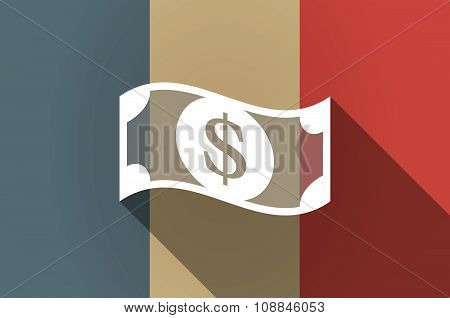 Long Shadow Flag Of France Vector Icon With A Dollar Bank Note