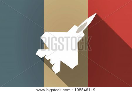 Long Shadow Flag Of France Vector Icon With A Combat Plane