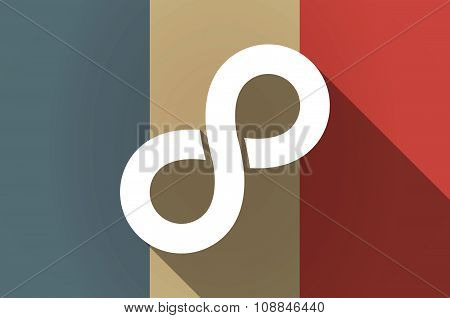 Long Shadow Flag Of France Vector Icon With An Infinite Sign