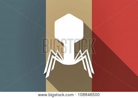 Long Shadow Flag Of France Vector Icon With A Virus