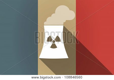 Long Shadow Flag Of France Vector Icon With A Nuclear Power Station