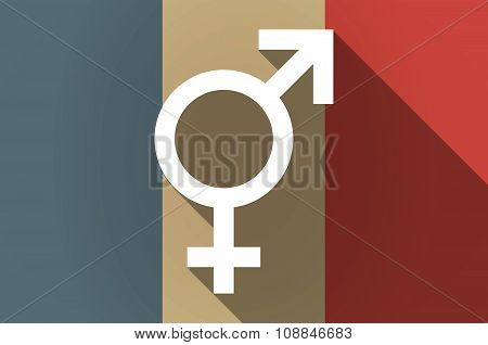 Long Shadow Flag Of France Vector Icon With A Transgender Symbol
