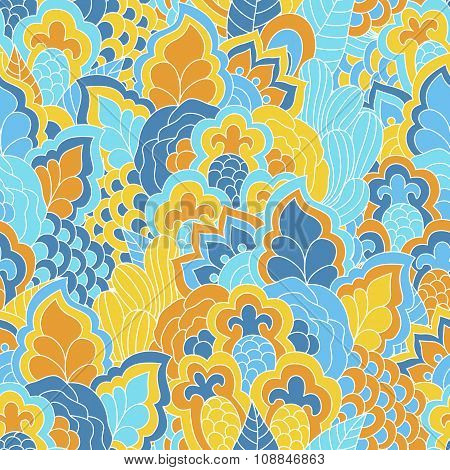 Hand drawn seamless pattern with floral elements.