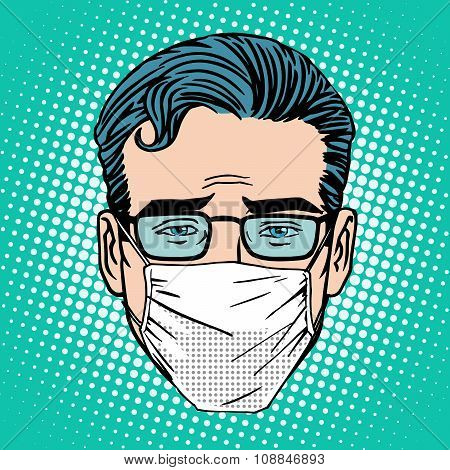 Retro Emoji sore virus infection medical mask face man