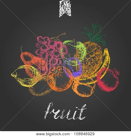 Hand Drawn Colored Chalk Fruit Background