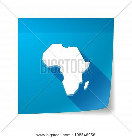 Long Shadow Vector Sticky Note Icon With  A Map Of The African Continent