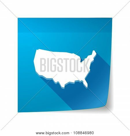 Long Shadow Vector Sticky Note Icon With  A Map Of The Usa