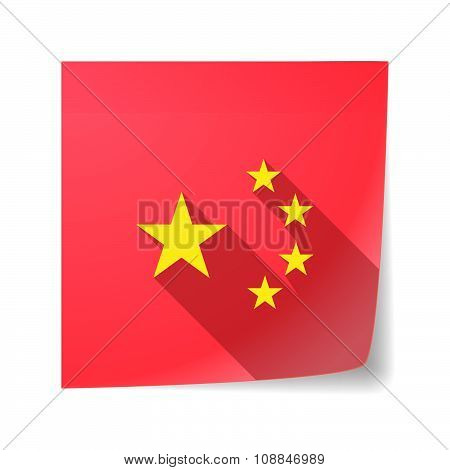 Long Shadow Vector Sticky Note Icon With  The Five Stars China Flag Symbol
