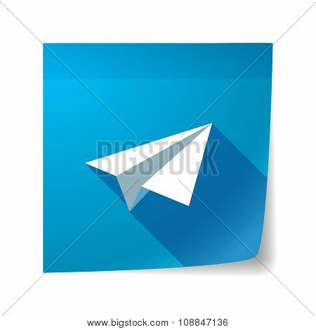 Long Shadow Vector Sticky Note Icon With A Paper Plane
