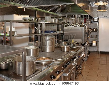Kitchen of a restaurant shot in operation