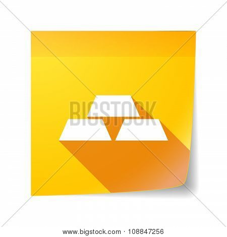 Long Shadow Vector Sticky Note Icon With Three Gold Bullions
