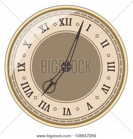 Isolated old clock on white background