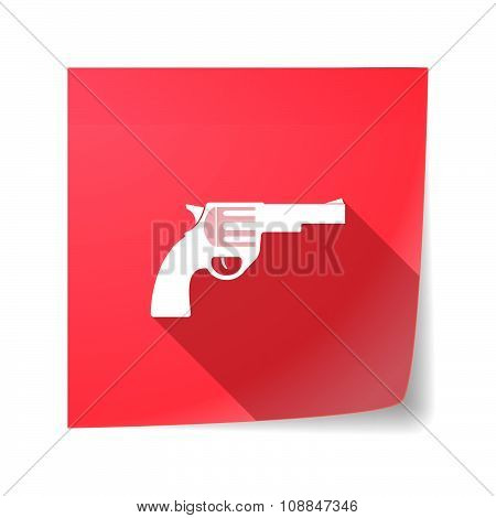 Long Shadow Vector Sticky Note Icon With A Gun