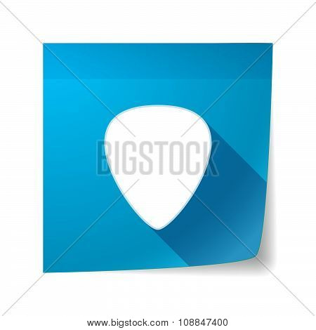 Long Shadow Vector Sticky Note Icon With A Plectrum