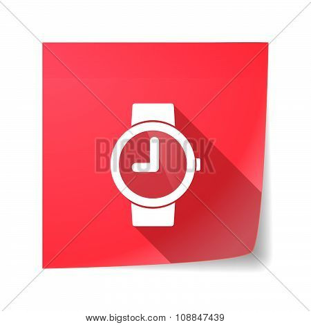 Long Shadow Vector Sticky Note Icon With A Wrist Watch