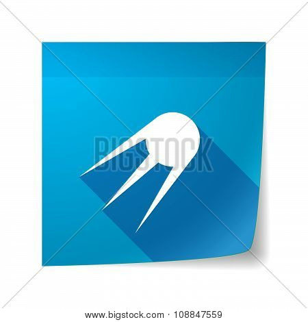 Long Shadow Vector Sticky Note Icon With A Vintage Satellite