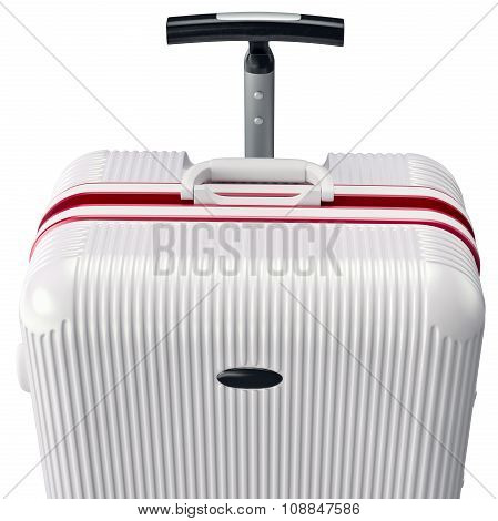 Luggage white for travel, close view