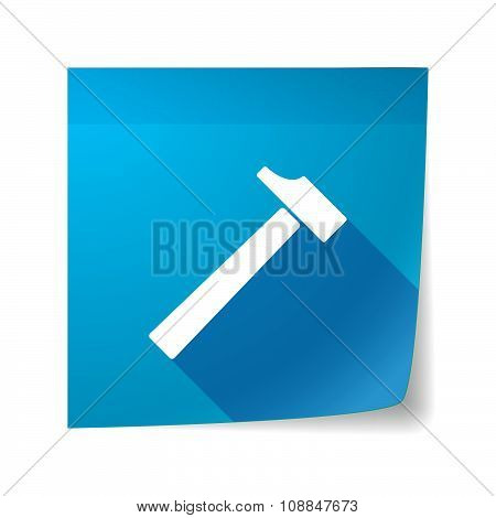 Long Shadow Vector Sticky Note Icon With A Hammer