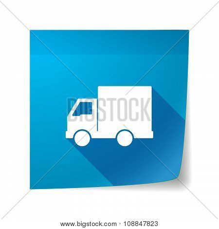 Long Shadow Vector Sticky Note Icon With A  Delivery Truck