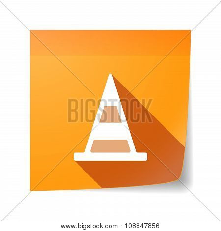 Long Shadow Vector Sticky Note Icon With A Road Cone