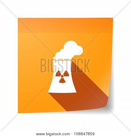 Long Shadow Vector Sticky Note Icon With A Nuclear Power Station