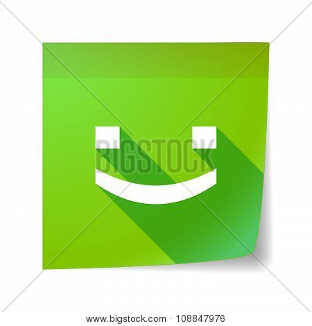 Long Shadow Vector Sticky Note Icon With A Smile Text Face