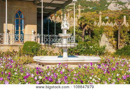 The fountain in the garden