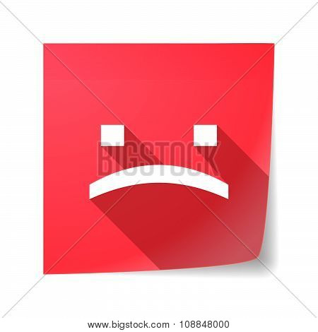 Long Shadow Vector Sticky Note Icon With A Sad Text Face