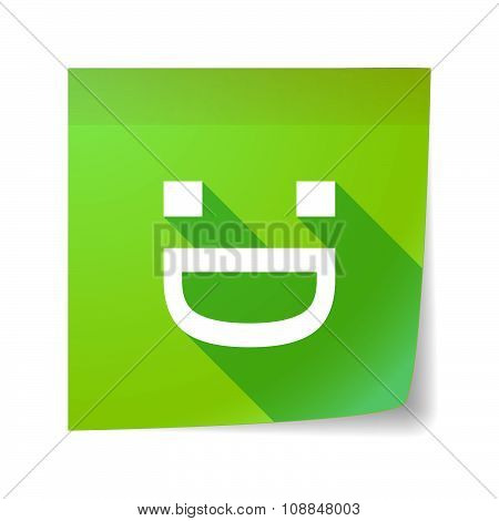 Long Shadow Vector Sticky Note Icon With A Laughing Text Face