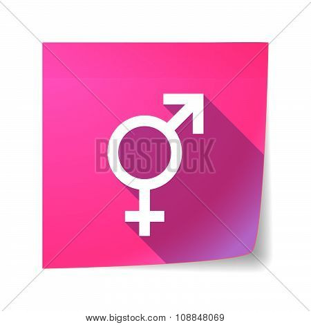 Long Shadow Vector Sticky Note Icon With A Transgender Symbol