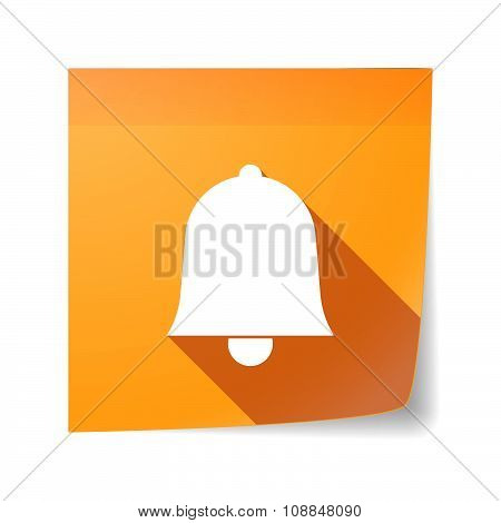 Long Shadow Vector Sticky Note Icon With A Bell
