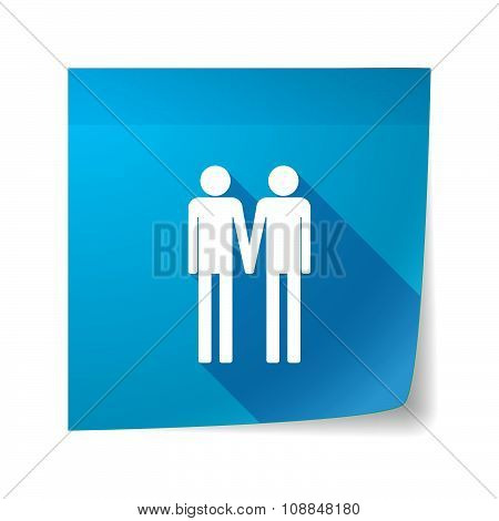 Long Shadow Vector Sticky Note Icon With A Gay Couple Pictogram