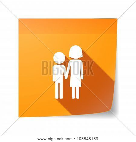 Long Shadow Vector Sticky Note Icon With A Childhood Pictogram
