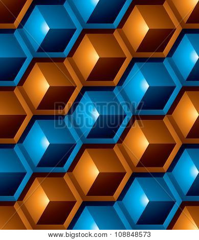 Colorful Abstract Textured Geometric Seamless Pattern With 3D Geometric Figures. Vector Bright
