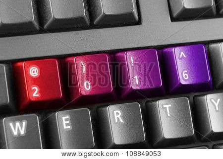 2016 Written With Red And Purple Keyboard Buttons