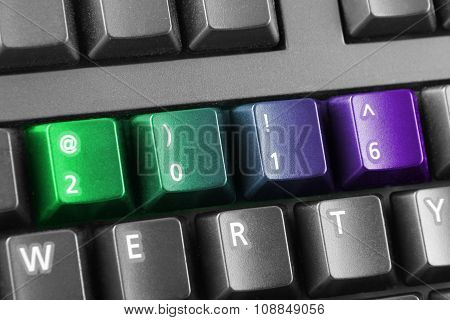 2016 Written With Green And Purple Keyboard Buttons