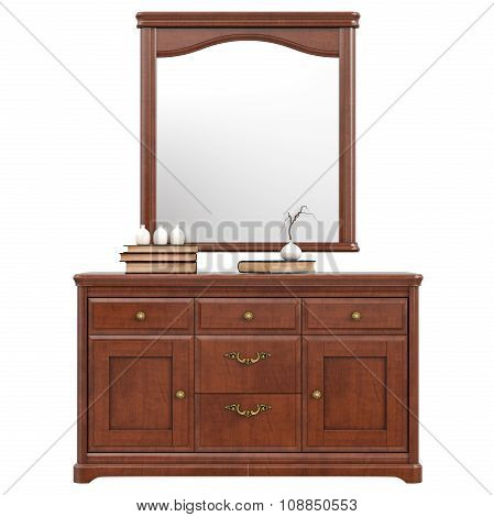 Large dresser with mirror, front view