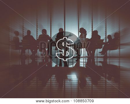 Group of Business People Meeting Back Lit Concept