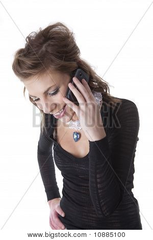 Smiling Teenage Girl On Cell Phone