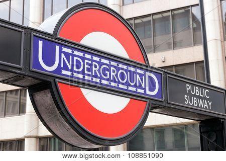 Underground Tube Station In London.