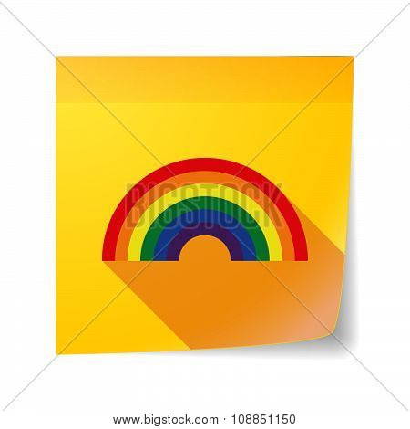 Long Shadow Vector Sticky Note Icon With A Rainbow