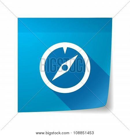 Long Shadow Vector Sticky Note Icon With A Compass