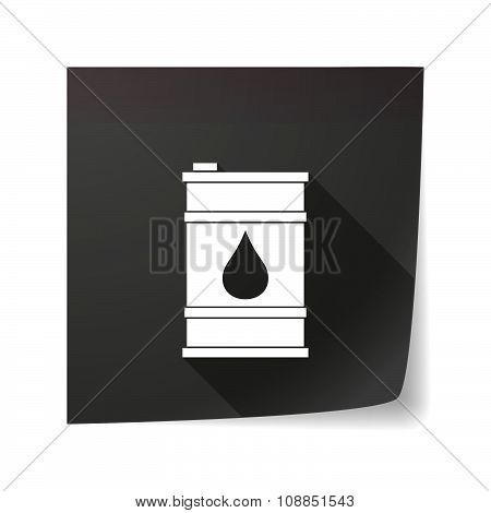 Long Shadow Vector Sticky Note Icon With A Barrel Of Oil
